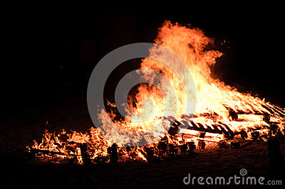 Huge bonfire on the beach
