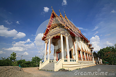 Huge Buddhist temple architecture against blue sky