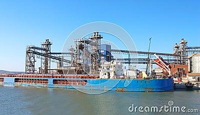 Huge cargo ship at port
