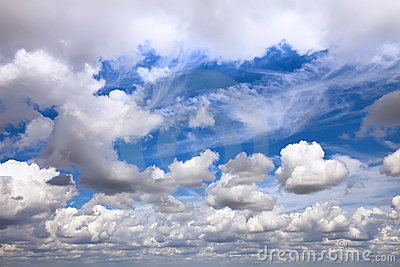 Huge cloudscape with different clouds from horizon