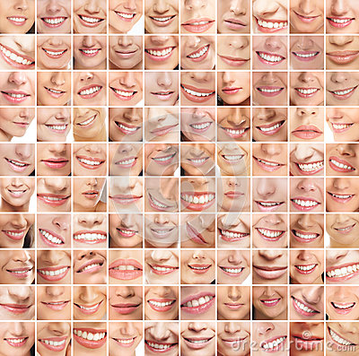 A huge collage of many different female smiles