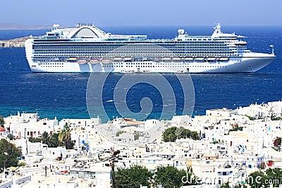 Huge cruise ship at anchor at mykonos island
