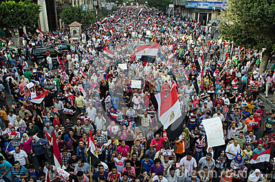 Huge demostrations against president Morsi in Egypt Editorial Stock Photo