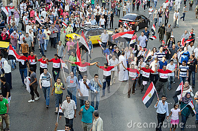 Huge demostrations against president Morsi in Egypt Editorial Image