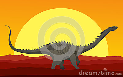 Huge dinosaur in the sunset