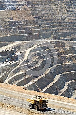 Huge dump truck in open pit mine