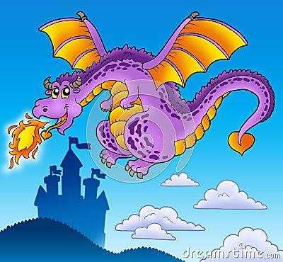 Huge flying dragon near castle