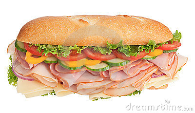 Huge freshly made sandwich on white background