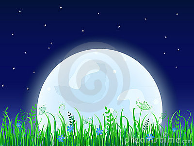 Huge moon with grass meadow