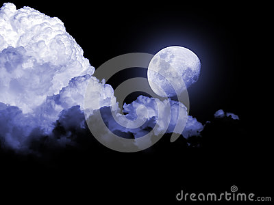 Full moon stormy clouds night