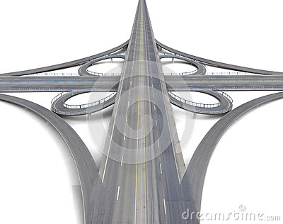 Huge motorway crossroads perspective view