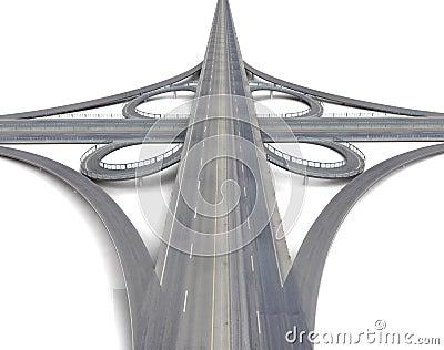 Huge motorway crossroads perspective view