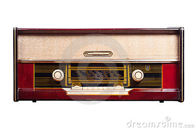 Huge old vintage radio isolated