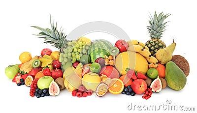 Huge pile of various fruits
