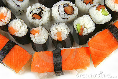 Huge plate of sushi