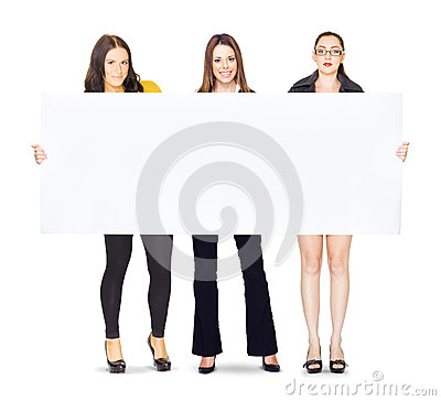 Free Huge Poster Held By Three Cute Business Girls Stock Photography - 24722232