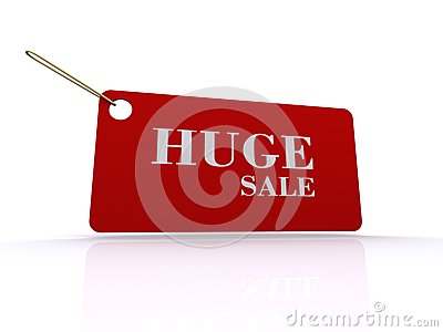 Huge sale tag or label
