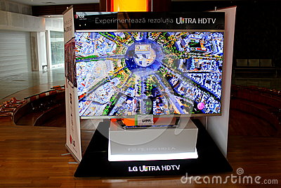 Huge screen TV LG ULTRA HDTV 3D Editorial Image