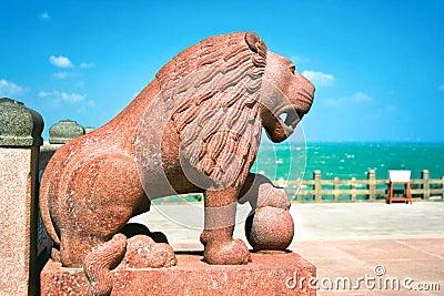 Huge  sculpted lion detail of Vivekananda memorial