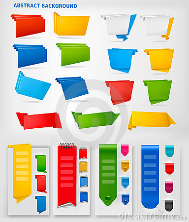 Huge set of colorful origami paper banners. Vector