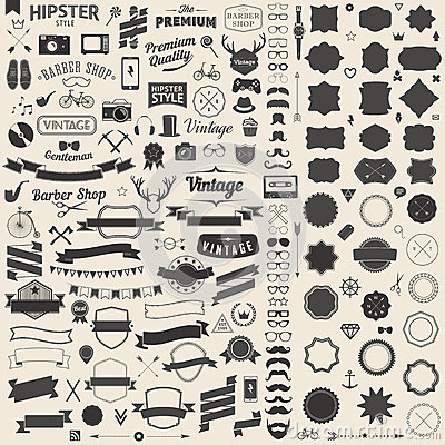 Free Huge Set Of Vintage Styled Design Hipster Icons. Vector Signs And Symbols Templates For Your Design. Stock Photos - 46216273