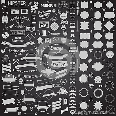 Free Huge Set Of Vintage Styled Design Hipster Icons. Vector Signs And Symbols Templates For Your Design. Royalty Free Stock Photo - 46511025