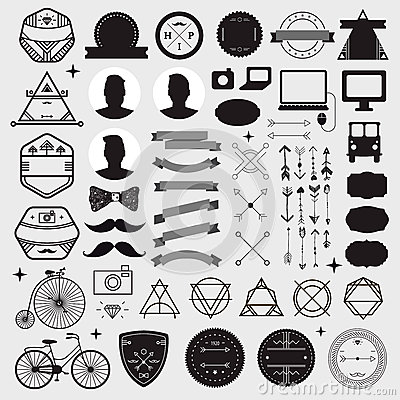 Huge set of vintage styled design hipster icons Vector Illustration