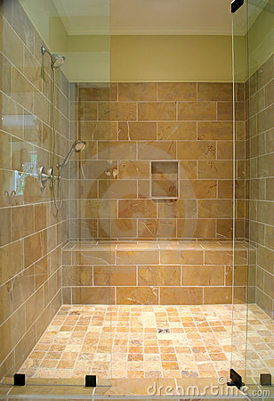 Free Huge Stone And Glass Shower Stock Photography - 4039622