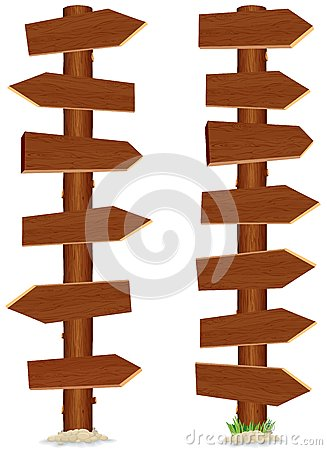 Huge and Tall Wooden Sign. Vector Illustration