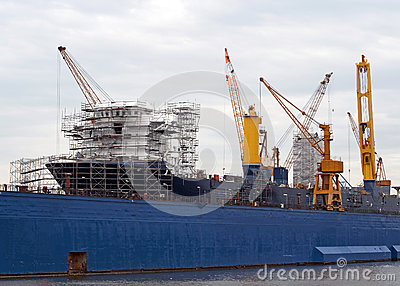 Huge vessel in a dock