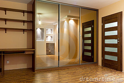 Huge wardrobe of modern apartment