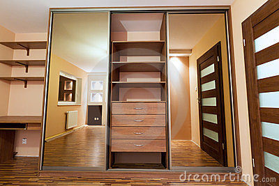 Huge wardrobe of the modern apartment