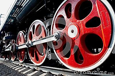 Huge wheels of old steam locomotive