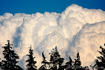 Huge white clouds