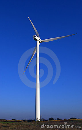 Huge wind-turbine on blue.