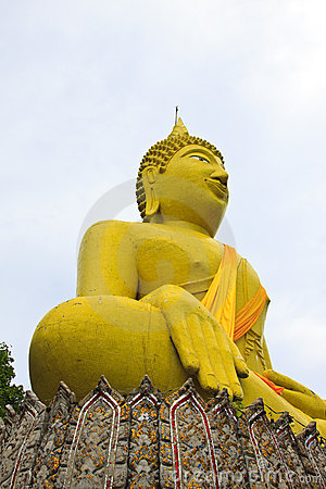 Huge yellow buddha statue