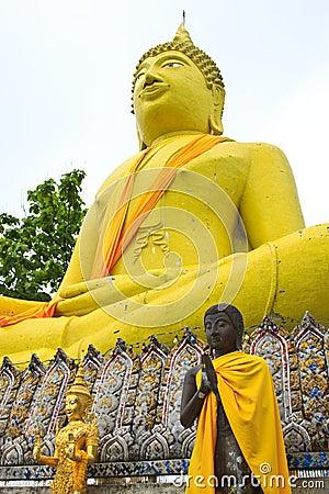 Huge yellow buddha statue