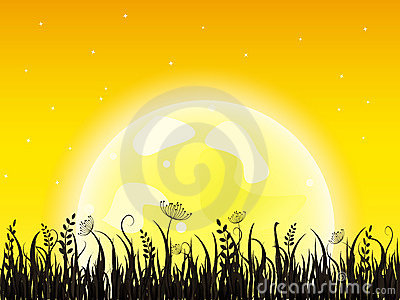 Huge yellow moon with grass meadow