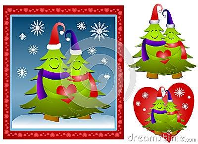 Hugging Christmas Tree Couple