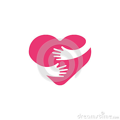 Free Hugging Heart Symbol, Hug Yourself , Love Yourself. Heart And Hands Illustration. Royalty Free Stock Photos - 88260158