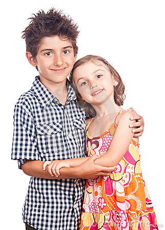 Hugging kids portrait