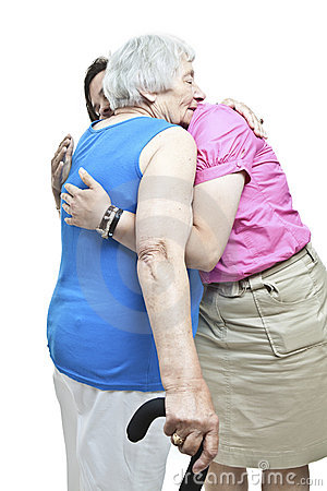 Hugging a senior