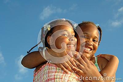 Hugging sisters