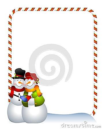 Hugging Snowman Border