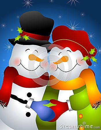 Hugging Snowman Couple 2