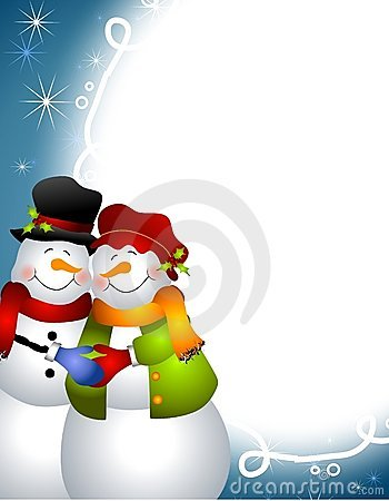 Hugging Snowman Couple