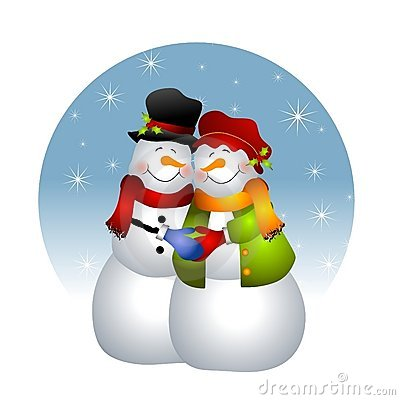 Hugging Snowman Couple