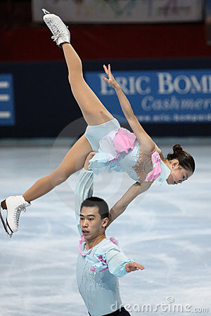 Huibo DONG / Yiming WU (CHN) free skating Editorial Stock Image