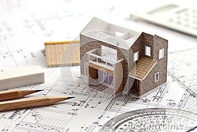 Huis, ontwerp, het trekken