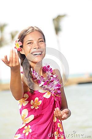 Hula dancer dancing hula dance on hawaii
